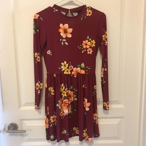 Long sleeve floral fall dress